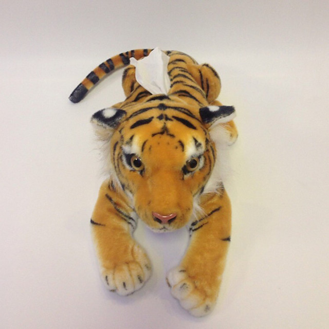 1 pcs Stuffed Animal Simulation Plush Toy Tissue Tray Box Paper Holder Plush Toys Plush Dolls Dog Tiger Handmade Realistic PP Plush Imaginative Play, Stocking, Great Birthday Gifts Party Favor / Kids