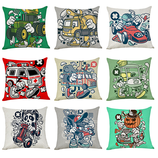 9 pcs Linen Pillow Cover, Modern Car Geometric Casual Modern Square Traditional Classic