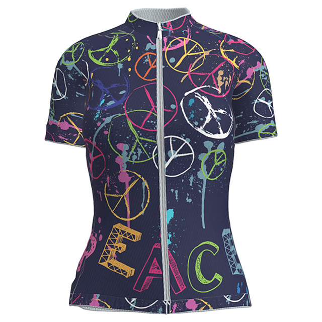 21Grams Women's Short Sleeve Cycling Jersey Nylon Polyester Black / Red Novelty Peace & Love Bike Jersey Top Mountain Bike MTB Road Bike Cycling Breathable Quick Dry Ultraviolet Resistant Sports