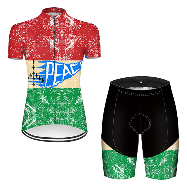 21Grams Women's Short Sleeve Cycling Jersey with Shorts Nylon Polyester Red / Yellow Patchwork Peace & Love Bike Clothing Suit Breathable 3D Pad Quick Dry Ultraviolet Resistant Reflective Strips