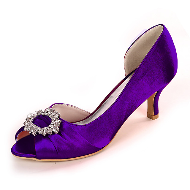 Women's Wedding Shoes Spring / Summer Stiletto Heel Peep Toe Classic Wedding Party & Evening Rhinestone Solid Colored Satin White / Black / Purple