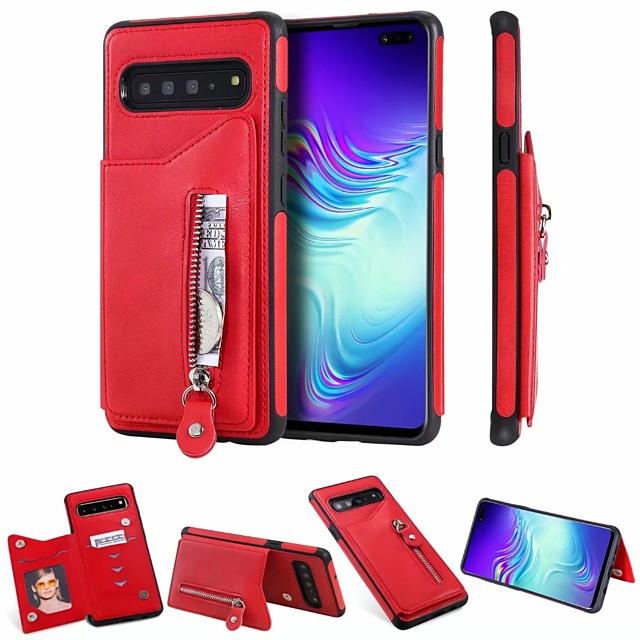 Case For Samsung Galaxy Galaxy S10 / Galaxy S10 Plus / Galaxy S10 E Wallet / Card Holder Back Cover Solid Colored PU Leather for Samsung S20 / S20 Plus / S20 Ultra