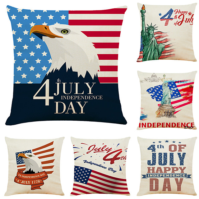 Set of 6 Independence Day Room Decoration Pillow Cover 4th Of July Pillow Cases Sofa Cushion Cover Home Pillow Case Pillow Covers