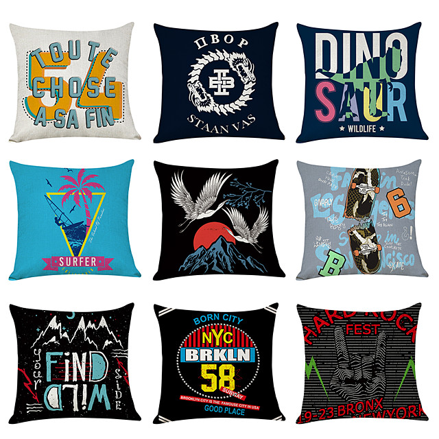 9 pcs Linen Pillow Cover, English Alpabet Casual Modern Square Traditional Classic