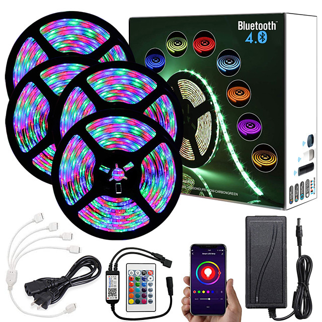 20M (4x5M) App Intelligent Control Bluetooth Music Sync Flexible Led Strip Lights 2835 RGB SMD 1080 LEDs IR 24 Key Bluetooth Controller with 12V Adapter Kit