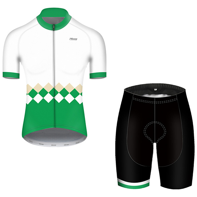 21Grams Men's Short Sleeve Cycling Jersey with Shorts Nylon Polyester Green Stripes Patchwork Bike Clothing Suit Breathable 3D Pad Quick Dry Ultraviolet Resistant Reflective Strips Sports Stripes