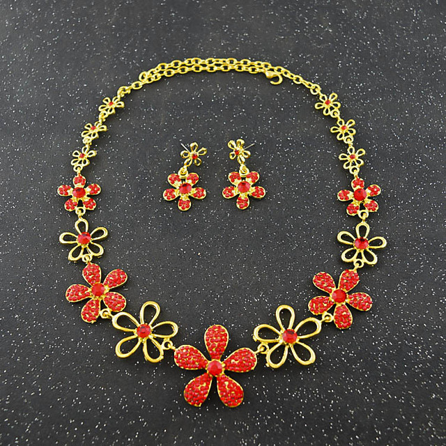 Women's Crystal Bridal Jewelry Sets Hollow Out Flower Elegant Vintage Earrings Jewelry White / Red For Wedding Party 1 set