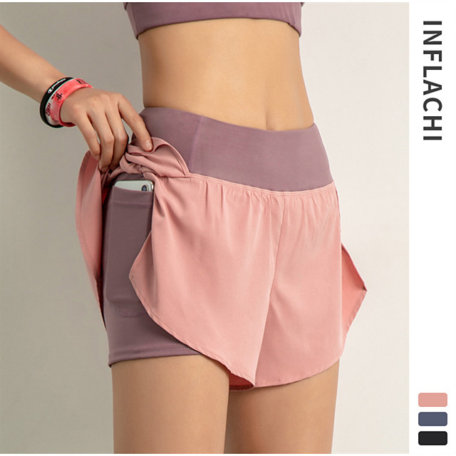 INFLACHI Women's Running Shorts Bottoms 2 in 1 with Phone Pocket Liner Gym Workout Marathon Running Jogging Trail Training Lightweight Breathable Quick Dry Sport Black Blushing Pink Blue Solid Colored