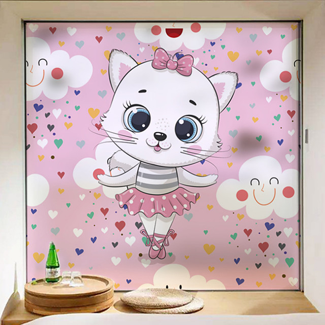 Cute Cat Pattern Matte Window Sticker Bathroom Kitchen Kids Room Shop Living Room Bedroom Balcony Window Film 60*58cm