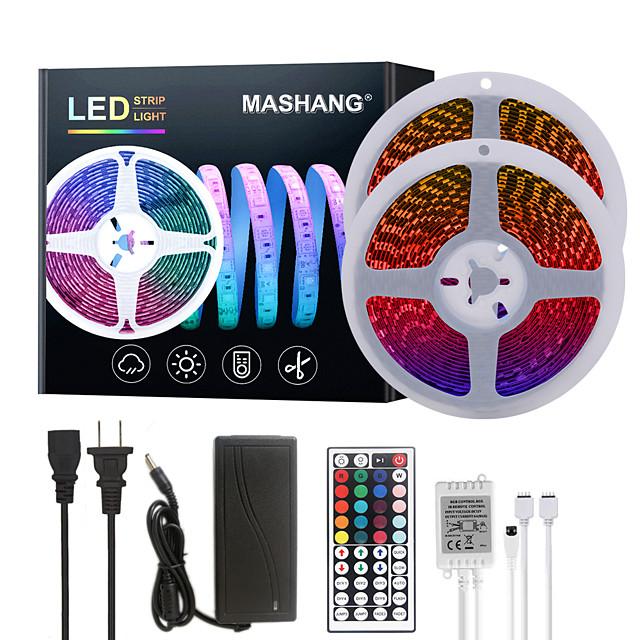 MASHANG Bright RGB LED Strip Lights 32.8ft 10M RGB Tiktok Lights 1200LEDs SMD 5050 with 44 Keys IR Remote Controller and 100-240V Adapter for Home Bedroom Kitchen TV Back Lights DIY Deco