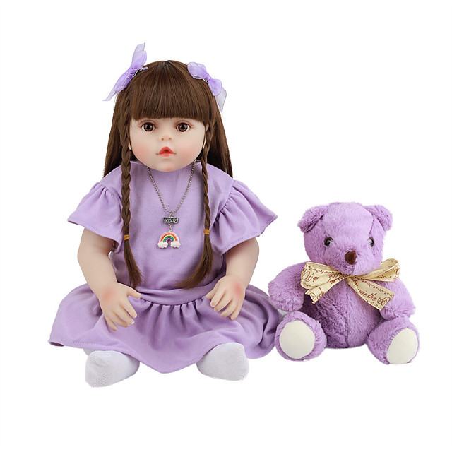 FeelWind 18 inch Reborn Doll Baby & Toddler Toy Reborn Toddler Doll Baby Girl Gift Cute Lovely Parent-Child Interaction Tipped and Sealed Nails 3/4 Silicone Limbs and Cotton Filled Body LV0107 with