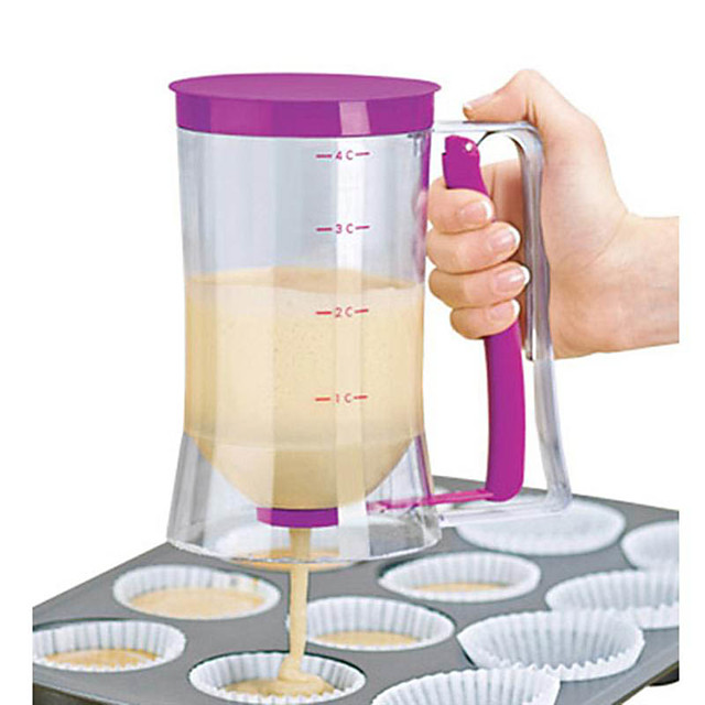 900ml Batter Flour Paste Dispenser For Cupcakes Cookie Cake Muffins Measuring Cup Cream Speratator Pancake Batter Dispensers