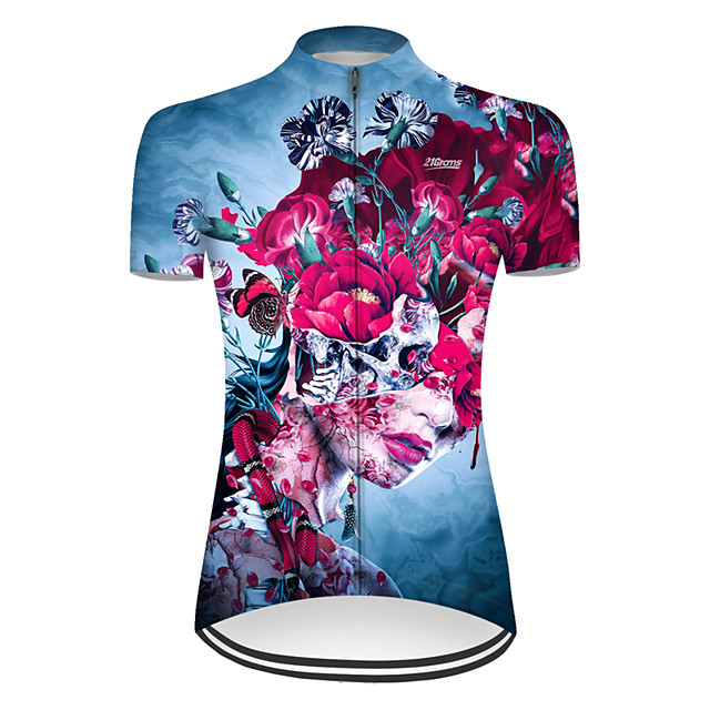 21Grams Women's Short Sleeve Cycling Jersey Nylon Polyester Red+Blue Novelty Skull Floral Botanical Bike Jersey Top Mountain Bike MTB Road Bike Cycling Breathable Quick Dry Ultraviolet Resistant