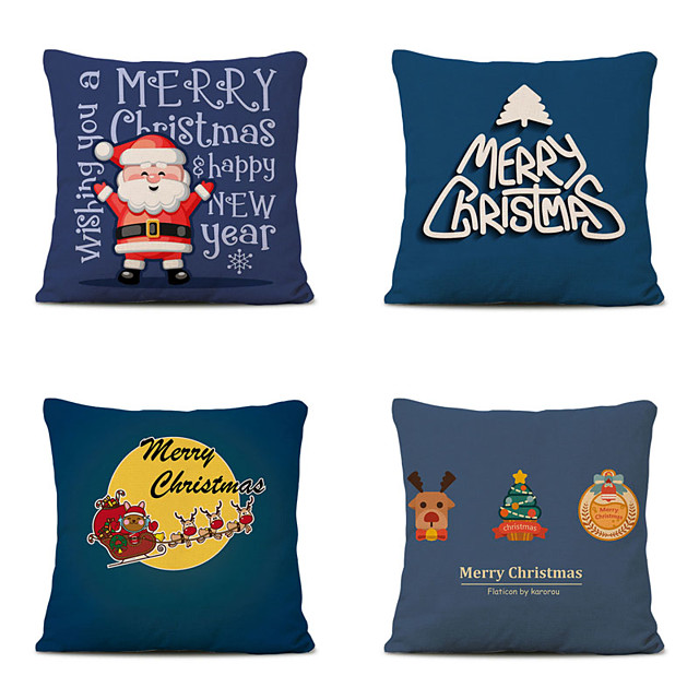 Set of 4 Linen Pillow Cover Special Design Cartoon Traditional Christmas Throw Pillow