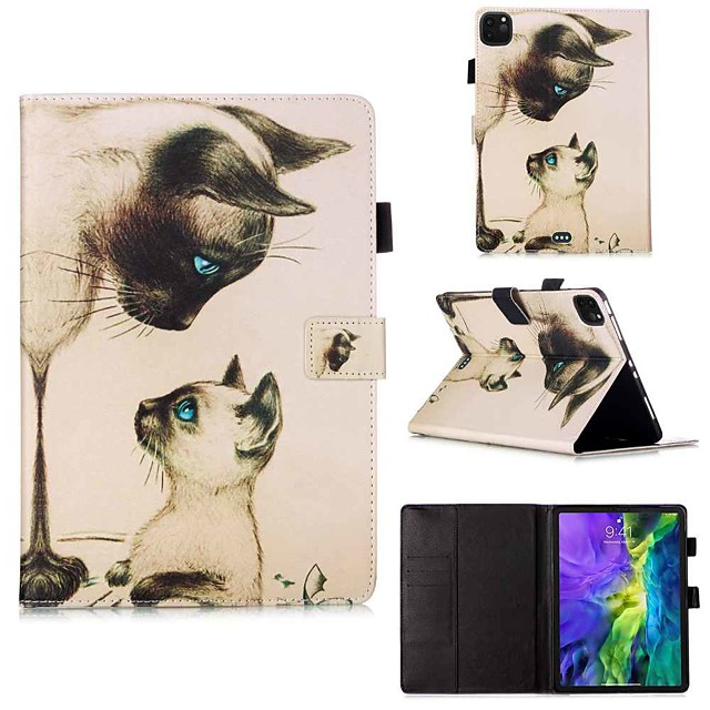 Case For Apple iPad Pro 11''(2020) / iPad 2019 10.2 / Ipad air3 10.5' 2019 Wallet / Card Holder / with Stand Full Body Cases Cat Stare PU Leather / TPU for iPad Air / iPad Air2 / iPad (2018)