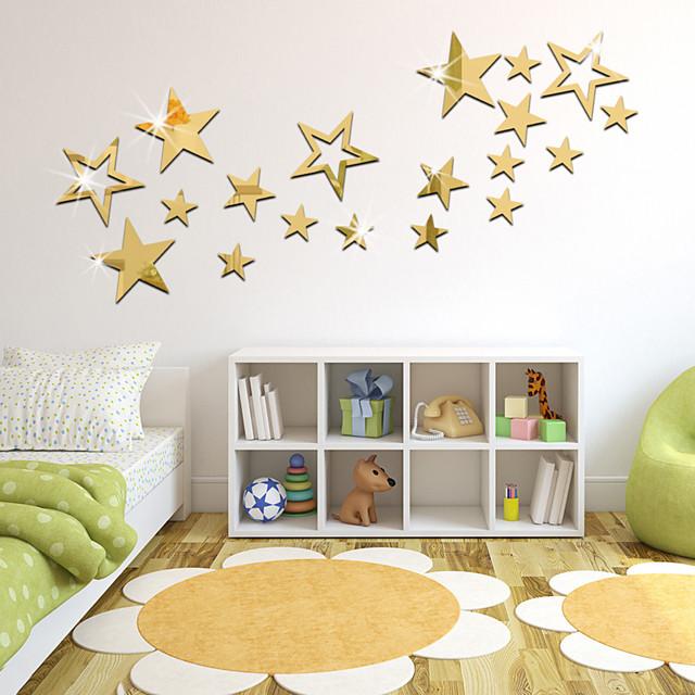 19PCS Stars Acrylic 3D Mirror Wall Stickers Decorative For Kid