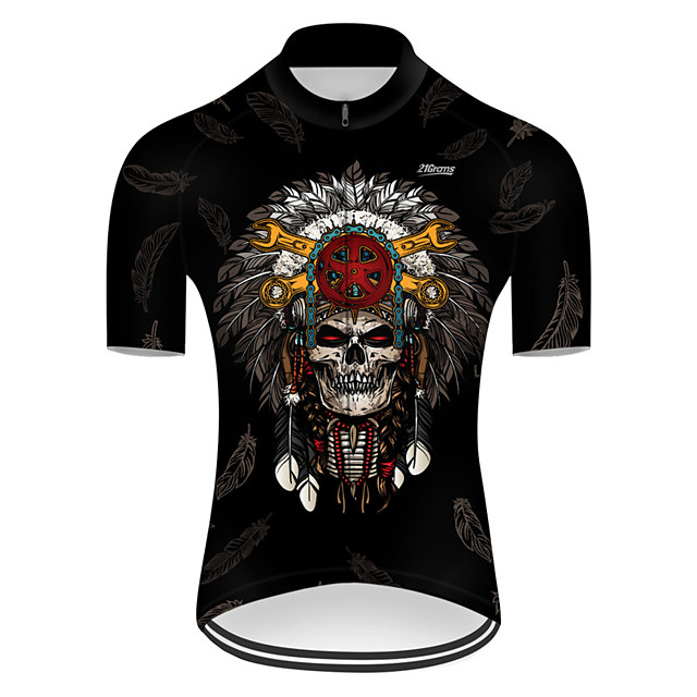 21Grams Men's Short Sleeve Cycling Jersey Nylon Polyester Black 3D Novelty Skull Bike Jersey Top Mountain Bike MTB Road Bike Cycling Breathable Quick Dry Ultraviolet Resistant Sports Clothing Apparel