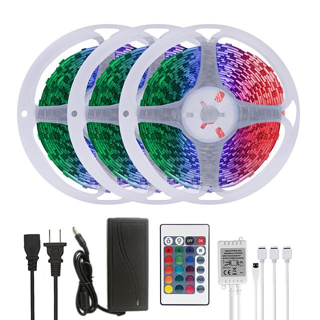 MASHANG 15M(3*5M) LED Strip Lights RGB Tiktok Lights 900LEDs Flexible Color Change SMD 5050 with 24 Keys IR Remote Controller and 100-240V Adapter for Home Bedroom Kitchen TV Back Lights DIY Deco