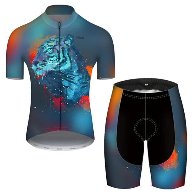 21Grams Men's Short Sleeve Cycling Jersey with Shorts Nylon Polyester Blue Gradient Animal Tiger Bike Clothing Suit Breathable 3D Pad Quick Dry Ultraviolet Resistant Reflective Strips Sports Gradient