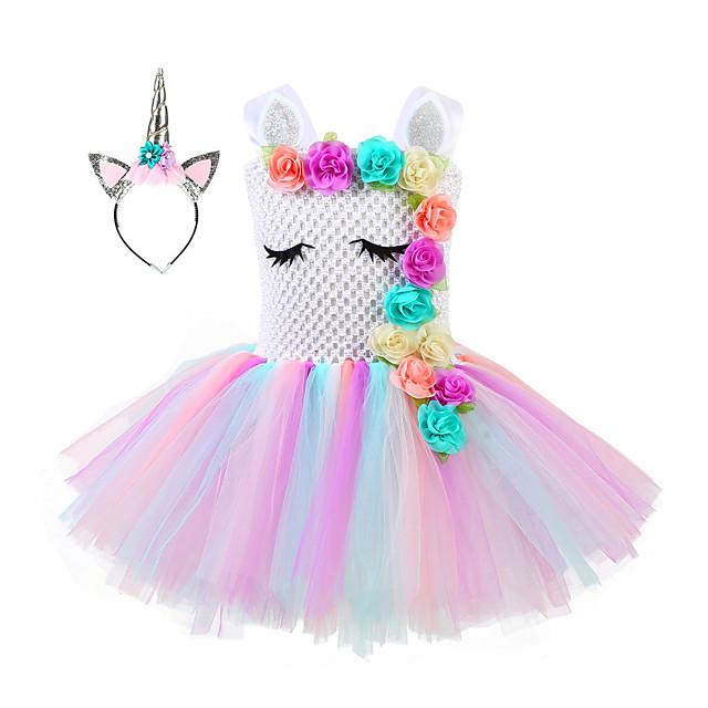 Princess Unicorn Flower Girl Dress Girls' Movie Cosplay A-Line Slip Vacation Dress Golden / Silver Dress Headwear Christmas Halloween Children's Day Polyester