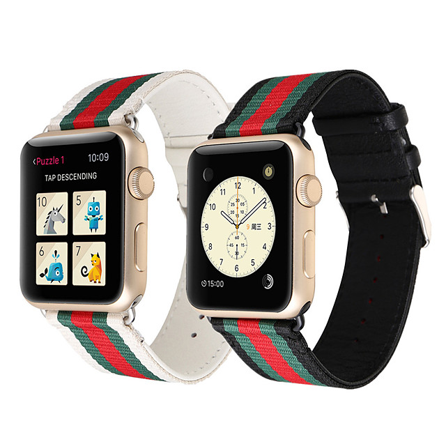 Replacement Strap New Casual Nylon Leather Watch Band Buckle Strap Watchbands For Apple Watch iwatch 40mm 44mm 38 & 42 mm