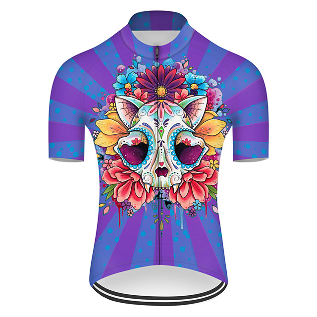 21Grams Men's Short Sleeve Cycling Jersey Nylon Polyester Red+Blue Novelty Skull Floral Botanical Bike Jersey Top Mountain Bike MTB Road Bike Cycling Breathable Quick Dry Ultraviolet Resistant Sports