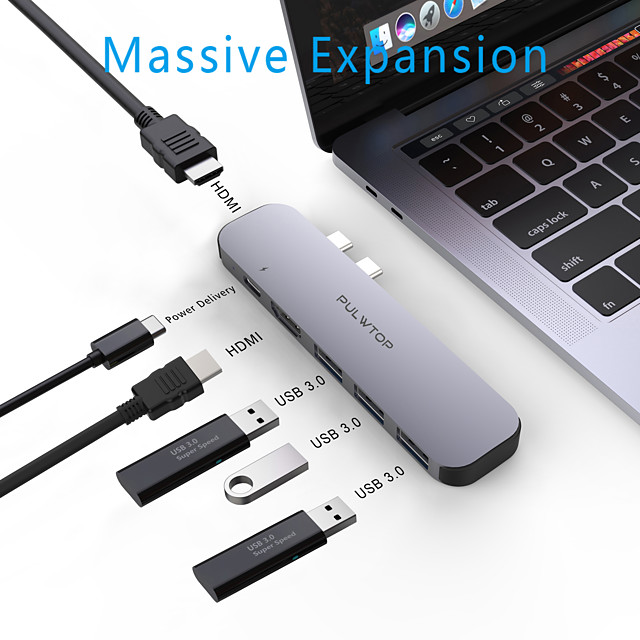 PULWTOP Dual USB Type C Hub to Dual HDMI Output Triple Display for MacOS USB 3.0 Type C 60W PD 4K 60Hz 1080p 30Hz USB C Adapter Docking for MacbookPro2020 Support Extended and Mirror Mode
