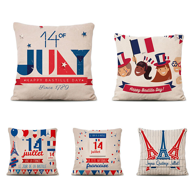 Set of 5 Home Cushion Cover Bastille Day pillow Sofa Covers 45cmx45cm Bed Printed Pillow Case