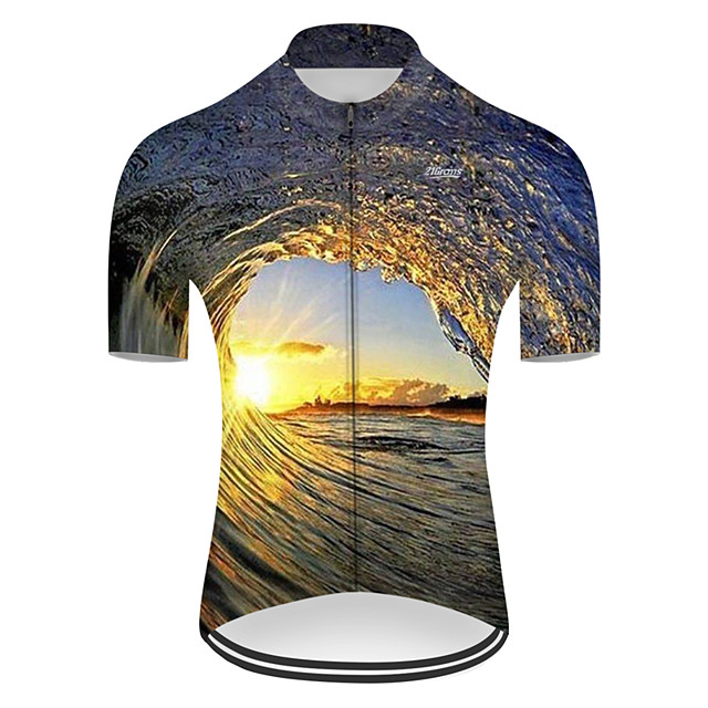 21Grams Men's Short Sleeve Cycling Jersey Nylon Polyester Black / Yellow 3D Gradient Bike Jersey Top Mountain Bike MTB Road Bike Cycling Breathable Quick Dry Ultraviolet Resistant Sports Clothing