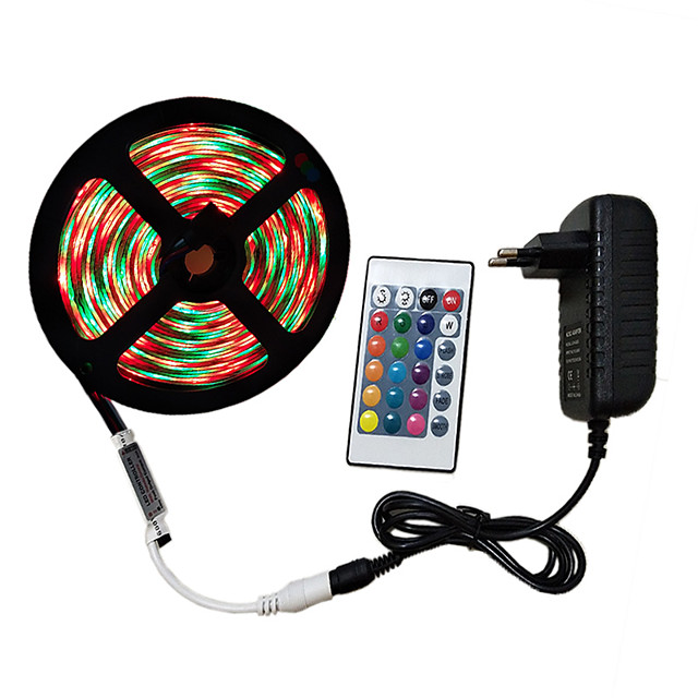 5m Light Sets RGB Strip Lights 300 LEDs 2835 SMD 8mm 1 24Keys Remote Controller 1 x 2A power adapter 1 set RGB Decorative 12 V 110-240 V