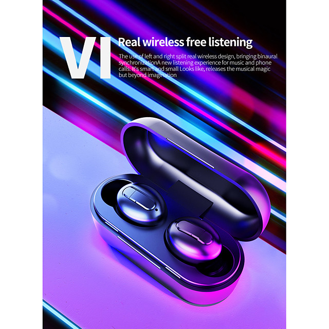 LITBest V1 TWS True Wireless Earbuds Wireless Bluetooth 5.0 Stereo Dual Drivers with Microphone with Charging Box Sweatproof for Mobile Phone