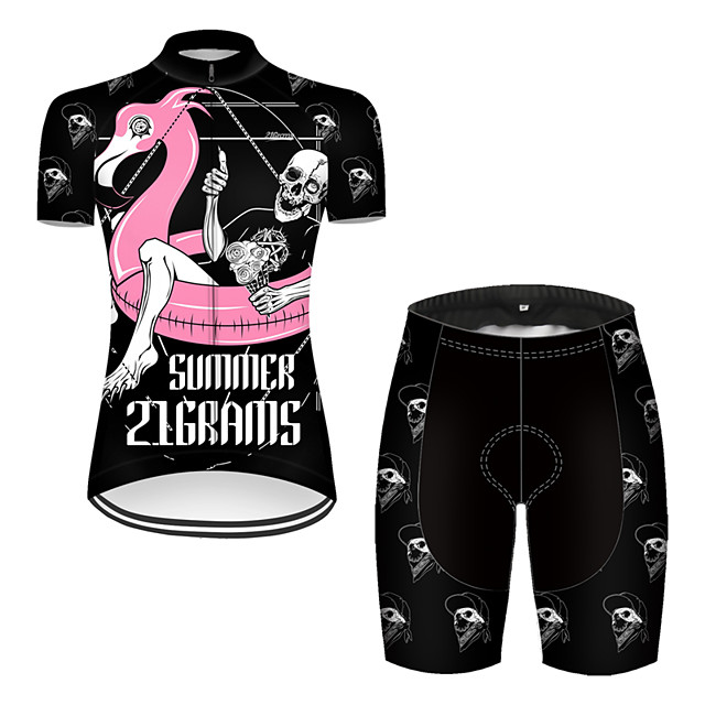 21Grams Women's Short Sleeve Cycling Jersey with Shorts Nylon Polyester Black / Red Flamingo Animal Skull Bike Clothing Suit Breathable 3D Pad Quick Dry Ultraviolet Resistant Reflective Strips Sports