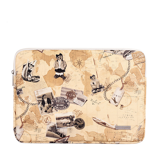 11.6 12 13.3 14 15.6 Inch Laptop Sleeve PU Leather Map for Business Office for Colleages Schools for Travel Waterpoof Shock Proof