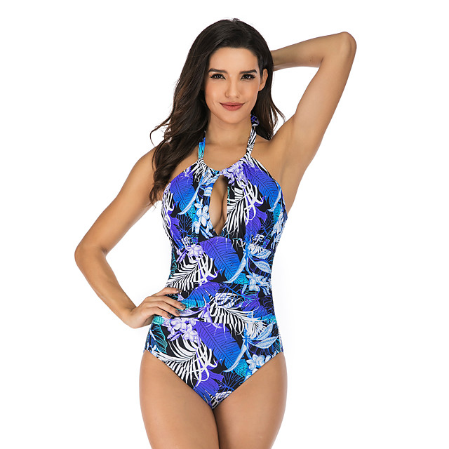 Women's Halter Keyhole One Piece Swimsuit Floral / Botanical Padded Swimwear Bodysuit Swimwear Blue Purple Black / Green Breathable Quick Dry Comfortable Sleeveless - Swimming Surfing Water Sports