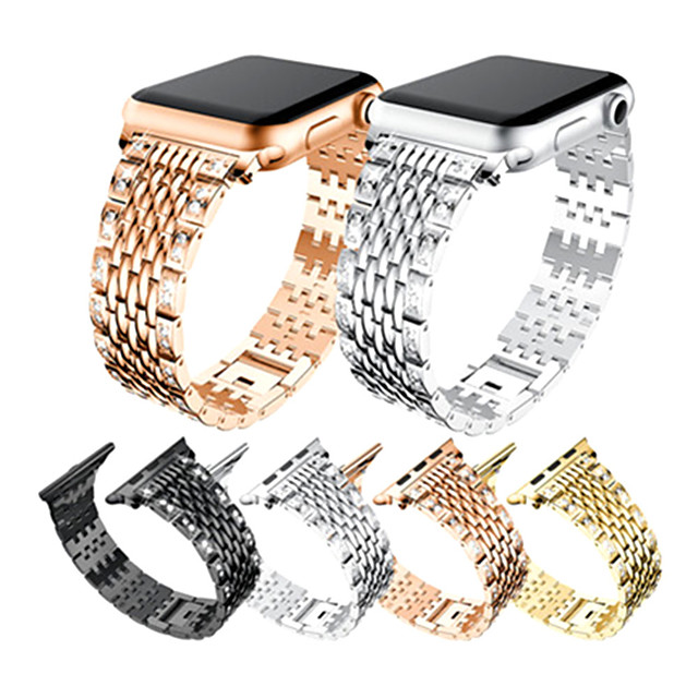 Women Diamond Xi font set auger metal bracelet is suitable for the  Apple smart watch iwatch1 2 3 4 5 series stainless steel strap