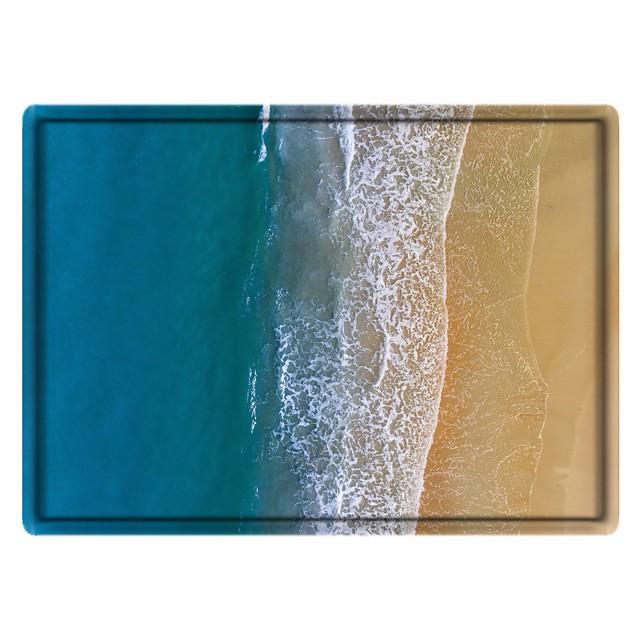 Blue Ocean Digital Print Non-Slip Long Bathroom Rugs Machine-Washable Soft Microfiber Floor Rugs