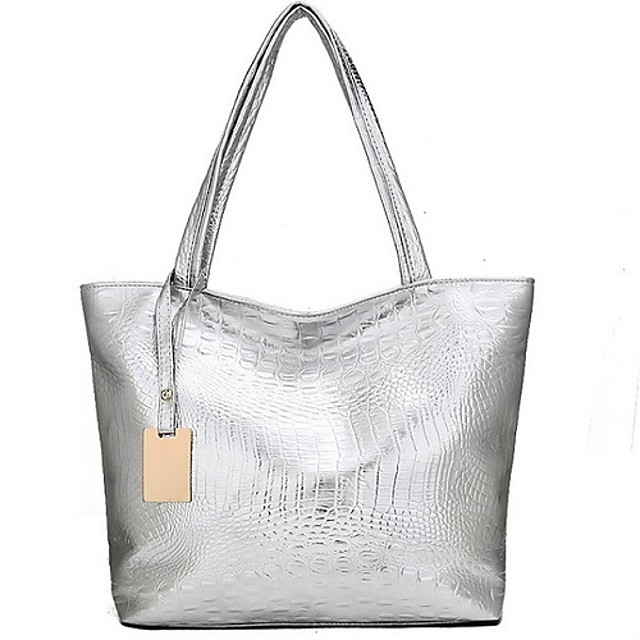 Women's Bags PU Leather Tote Zipper Solid Color Daily Tote Handbags Black Gold Silver
