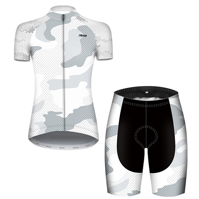 21Grams Women's Short Sleeve Cycling Jersey with Shorts Nylon Polyester Black / White Polka Dot Camo / Camouflage Bike Clothing Suit Breathable 3D Pad Quick Dry Ultraviolet Resistant Reflective Strips