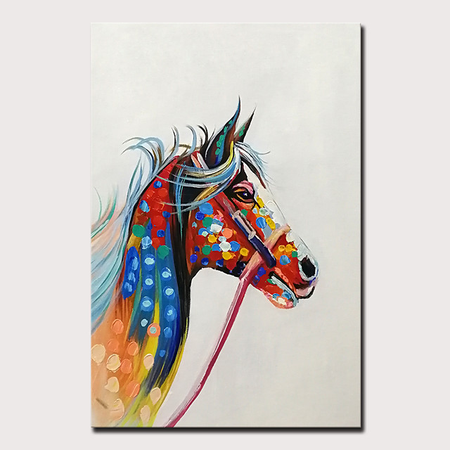 Mintura Original Hand Painted Horse Animal Oil Paintings on Canvas Modern Abstract Wall Picture Pop Art Posters For Home Decoration Ready To Hang