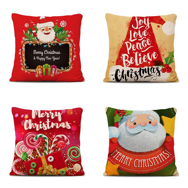 Set of 4 Merry Christmas Decorative Polyester Pillowcases Christmas Pillow Case Cover Santa Claus Elk Pillowcase