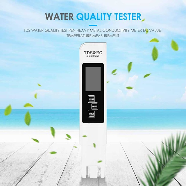 LCD Digital Desplay TDS EC Meter Pen3 In1 Multi-Function Water Quality Measurement Tool TDS&EC Tester for Drinking Water Quality Monitoring Swimming Pools Spas Aquarium Hydroponics Water 0-9990ppm
