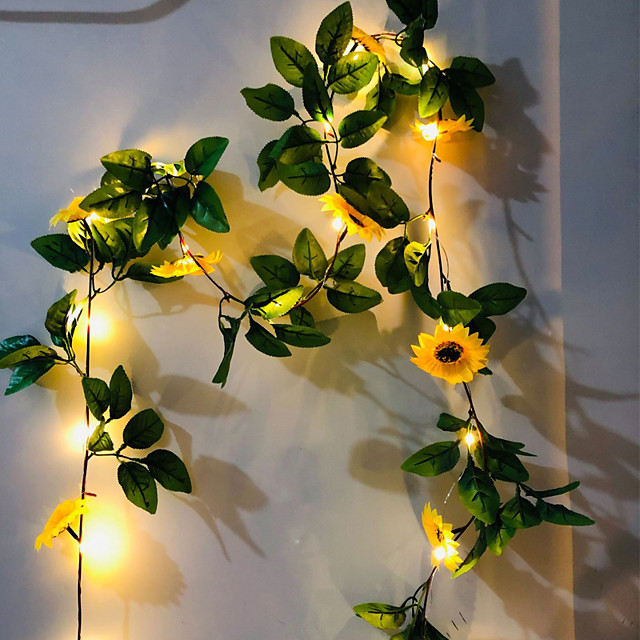2M 20LEDs Artificial Sunflower Lvy Vine Leaf LED String Lights Battery Operated For Home Wedding Party Bedroom Decor Lamp DIY Hanging Lighting Without Battery