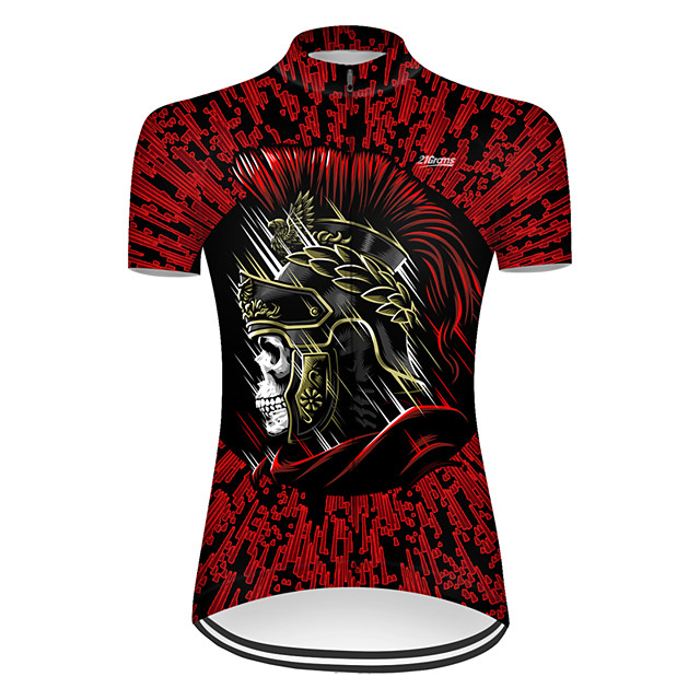21Grams Women's Short Sleeve Cycling Jersey Nylon Polyester Black / Red Patchwork Skull Funny Bike Jersey Top Mountain Bike MTB Road Bike Cycling Breathable Quick Dry Ultraviolet Resistant Sports