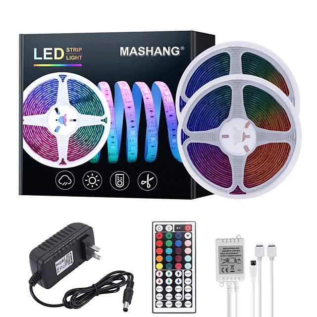 MASHANG 32.8ft 10M LED Strip Lights RGB Tiktok Lights Waterproof 600LEDs SMD 2835 with 44 Keys IR Remote Controller and 100-240V Adapter for Home Bedroom Kitchen TV Back Lights DIY Deco