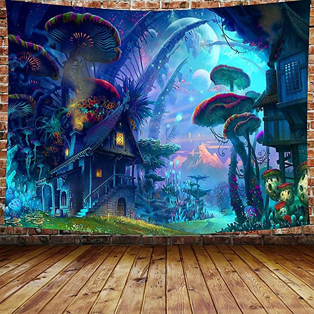 Wall Tapestry Art Decor Blanket Curtain Picnic Tablecloth Hanging Home Bedroom Living Room Dorm Decoration Cartoon Fantasy Fairy Tale Mushroom Forrest House