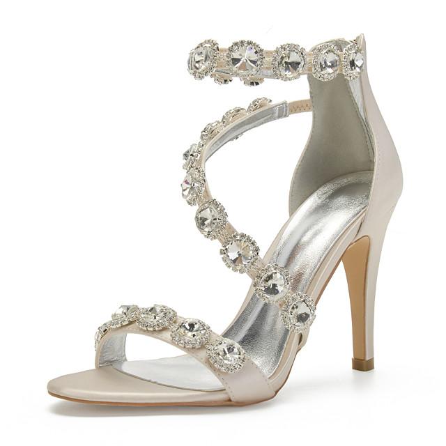 Women's Wedding Shoes Spring / Summer Stiletto Heel Open Toe Sexy Minimalism Roman Shoes Wedding Party & Evening Rhinestone / Crystal Solid Colored Satin White / Black / Purple