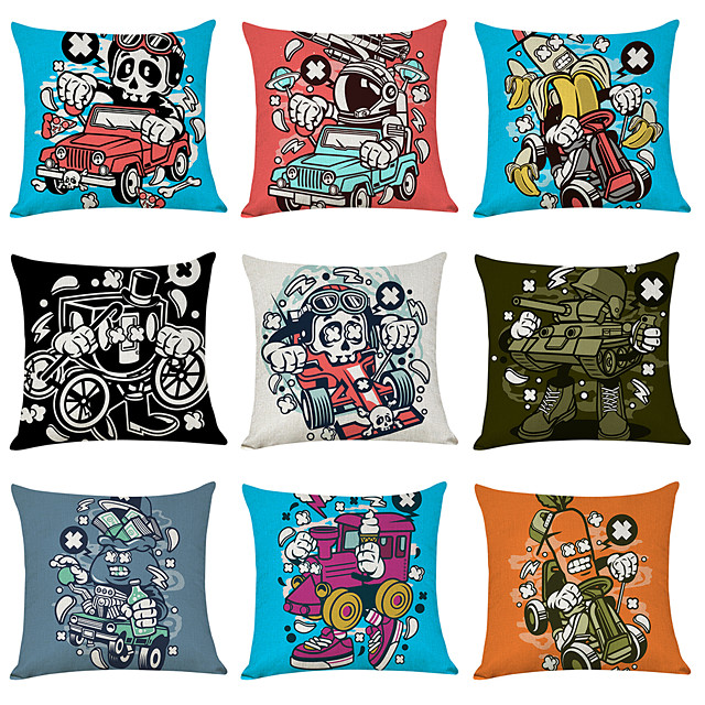 9 pcs Linen Pillow Cover, Cartoon Ghost Character Casual Modern Square Traditional Classic