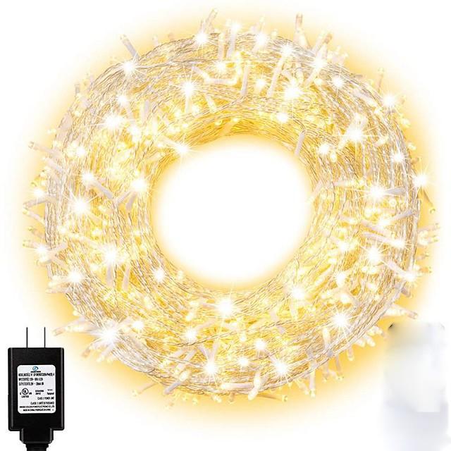 15m String Lights 100 LEDs Dip Led 1 13Keys Remote Controller 1 set Warm White Natural White Halloween Christmas Waterproof Decorative Christmas Wedding Decoration 110-240 V