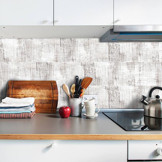 20x10cmx9pcs autocolant de perete din cereale din lemn alb, rezistent la ulei, autocolant de gresie impermeabil pentru bucătărie, baie, parter, decorarea casei