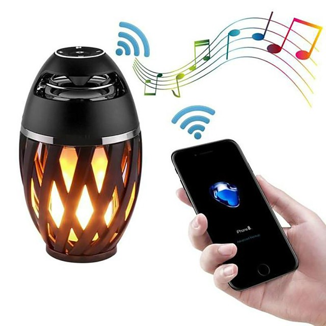 Led Flame Speakers Flame Torch Speaker Bluetooth Wireless Portable Outdoor Speaker with LED Flickers Lights for iPhone/Android